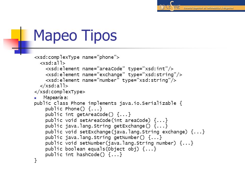 Mapeo Tipos <xsd:complexType name= phone > <xsd:all>