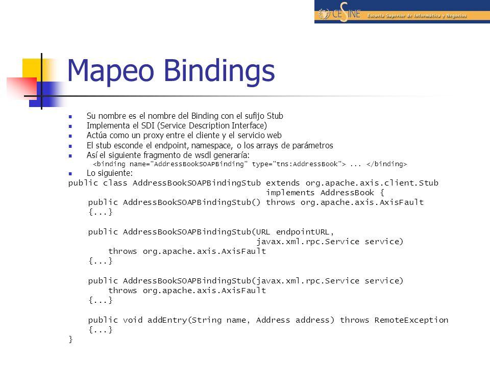 Mapeo Bindings Su nombre es el nombre del Binding con el sufijo Stub