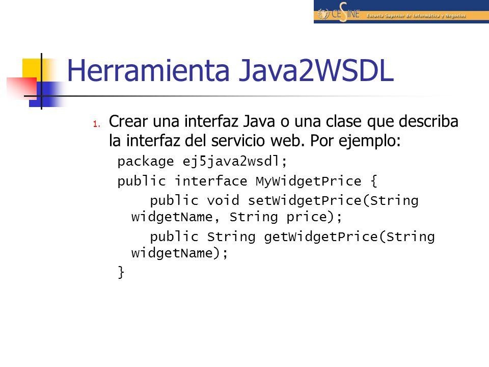 Herramienta Java2WSDL Crear una interfaz Java o una clase que describa la interfaz del servicio web. Por ejemplo: