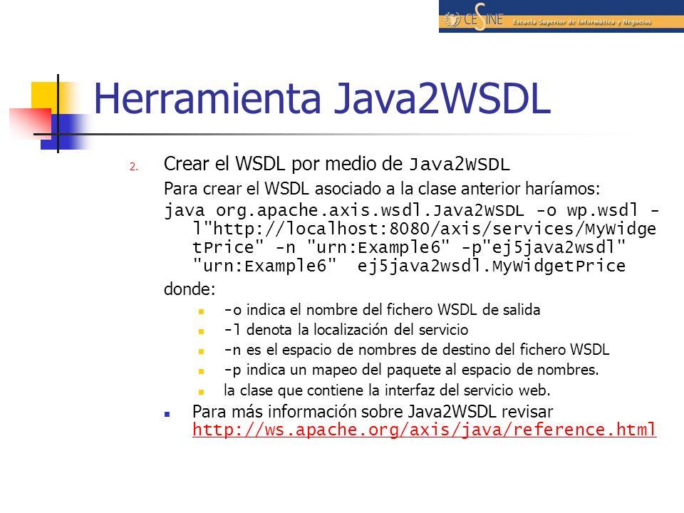 Herramienta Java2WSDL Crear el WSDL por medio de Java2WSDL
