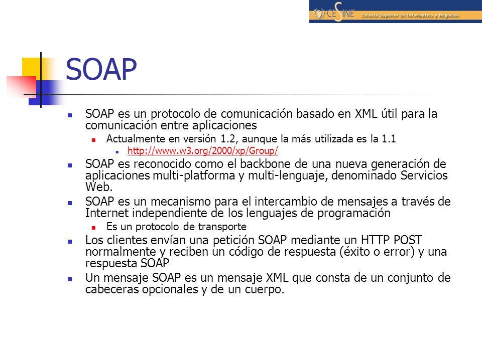 SOAP SOAP es un protocolo de comunicación basado en XML útil para la comunicación entre aplicaciones.