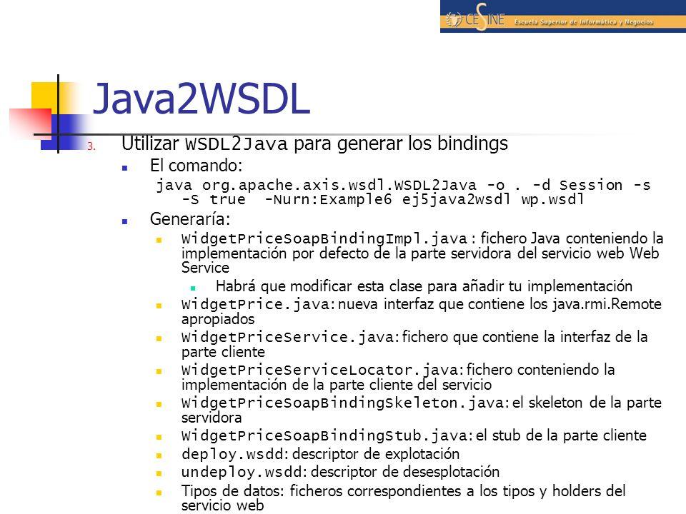 Java2WSDL Utilizar WSDL2Java para generar los bindings El comando: