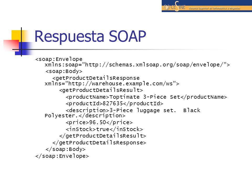 Respuesta SOAP <soap:Envelope xmlns:soap= http://schemas.xmlsoap.org/soap/envelope/ > <soap:Body>