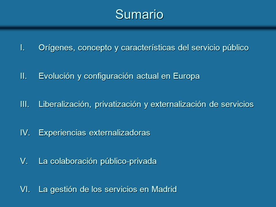 Sumario Orígenes, concepto y características del servicio público