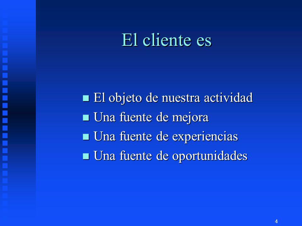 El cliente es El objeto de nuestra actividad Una fuente de mejora