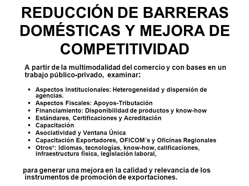 REDUCCIÓN DE BARRERAS DOMÉSTICAS Y MEJORA DE COMPETITIVIDAD