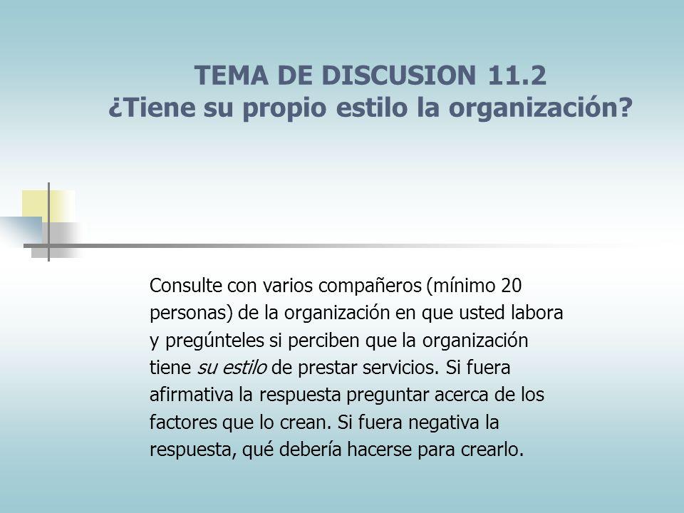 TEMA DE DISCUSION 11.2 ¿Tiene su propio estilo la organización