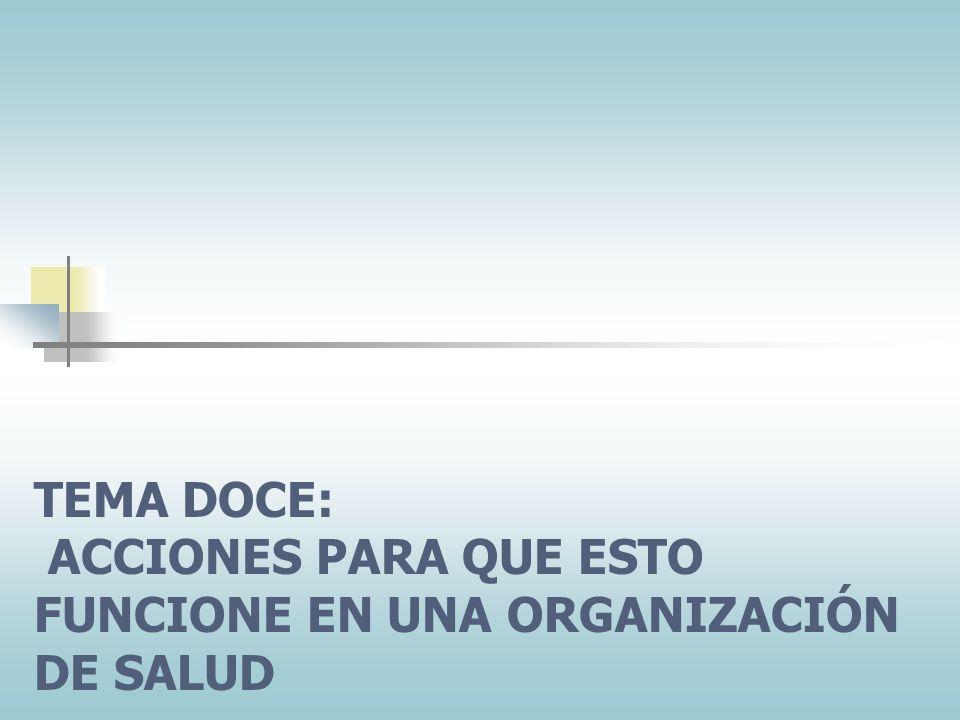 TEMA DOCE: ACCIONES PARA QUE ESTO FUNCIONE EN UNA ORGANIZACIÓN DE SALUD