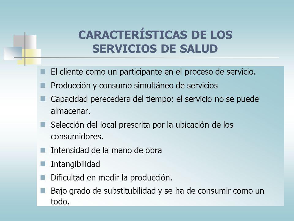 CARACTERÍSTICAS DE LOS SERVICIOS DE SALUD