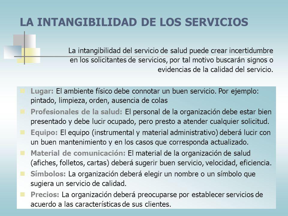 LA INTANGIBILIDAD DE LOS SERVICIOS