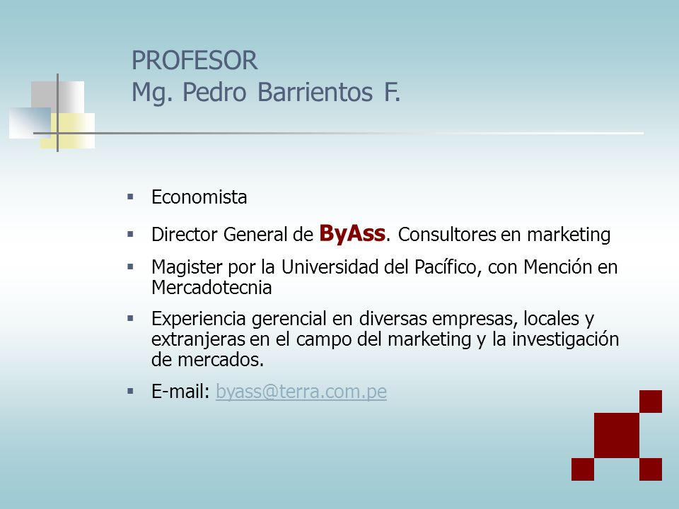 PROFESOR Mg. Pedro Barrientos F.