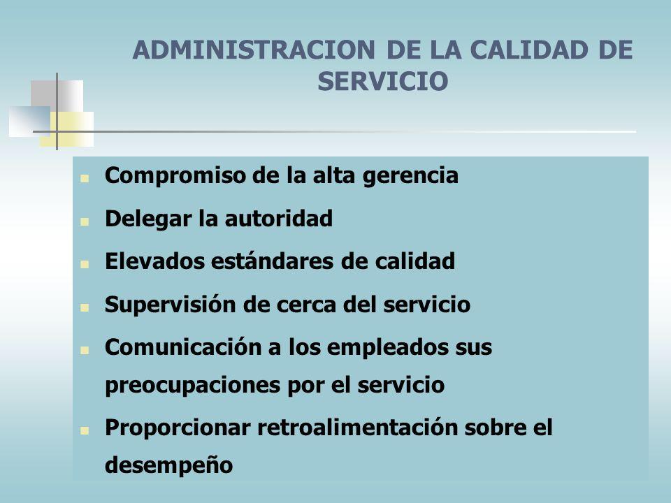 ADMINISTRACION DE LA CALIDAD DE SERVICIO