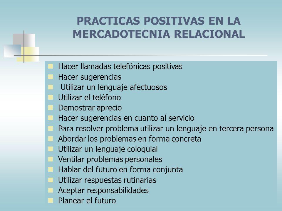 PRACTICAS POSITIVAS EN LA MERCADOTECNIA RELACIONAL