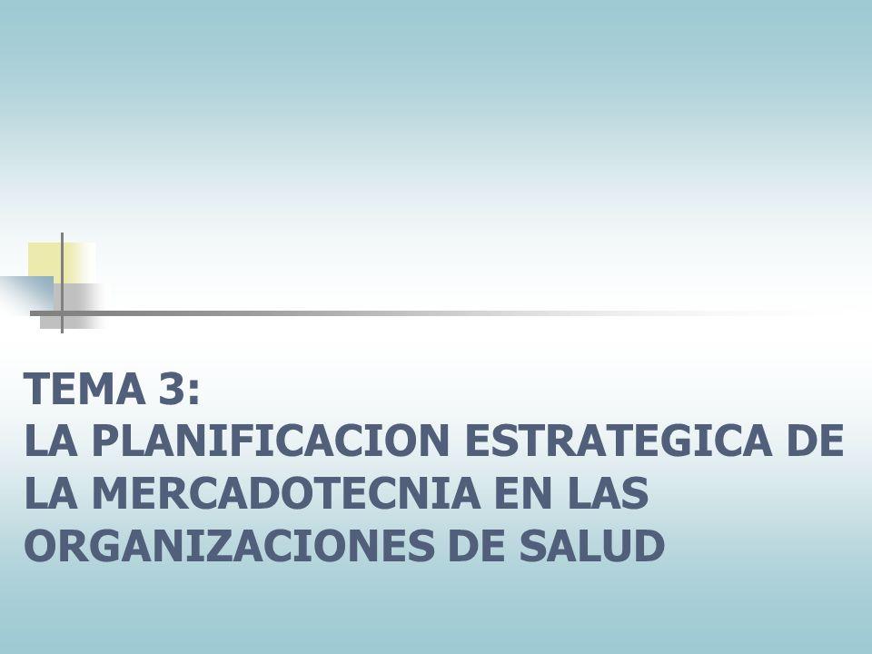 TEMA 3: LA PLANIFICACION ESTRATEGICA DE LA MERCADOTECNIA EN LAS ORGANIZACIONES DE SALUD