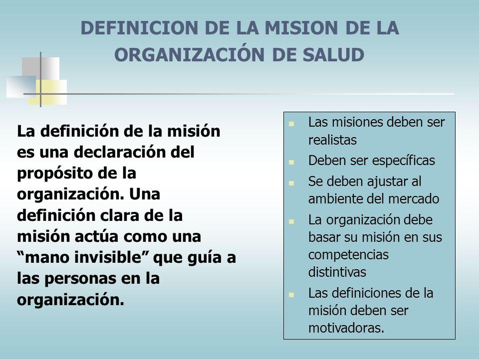 DEFINICION DE LA MISION DE LA ORGANIZACIÓN DE SALUD