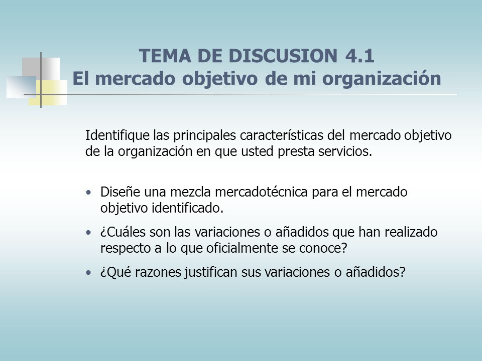 TEMA DE DISCUSION 4.1 El mercado objetivo de mi organización