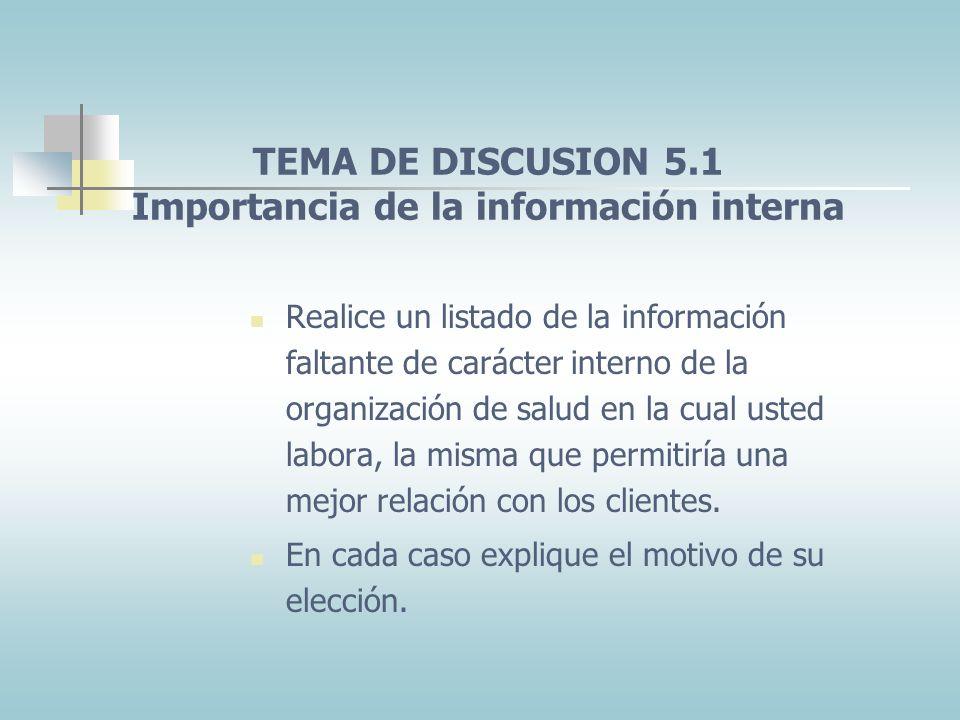TEMA DE DISCUSION 5.1 Importancia de la información interna