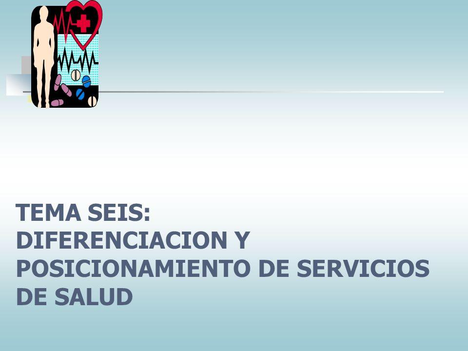 TEMA SEIS: DIFERENCIACION Y POSICIONAMIENTO DE SERVICIOS DE SALUD