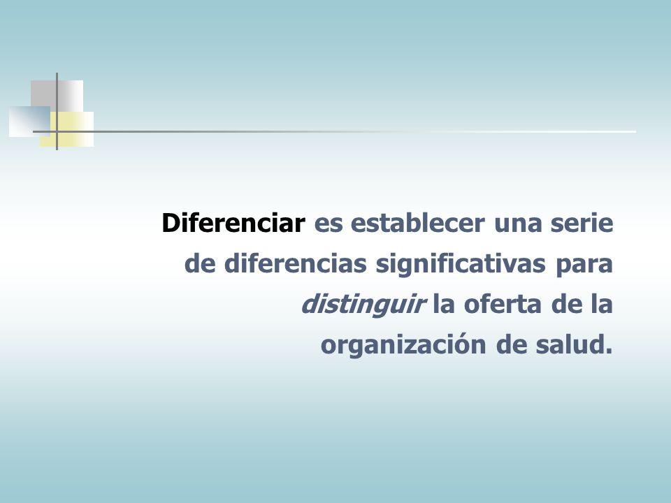 Diferenciar es establecer una serie de diferencias significativas para distinguir la oferta de la organización de salud.
