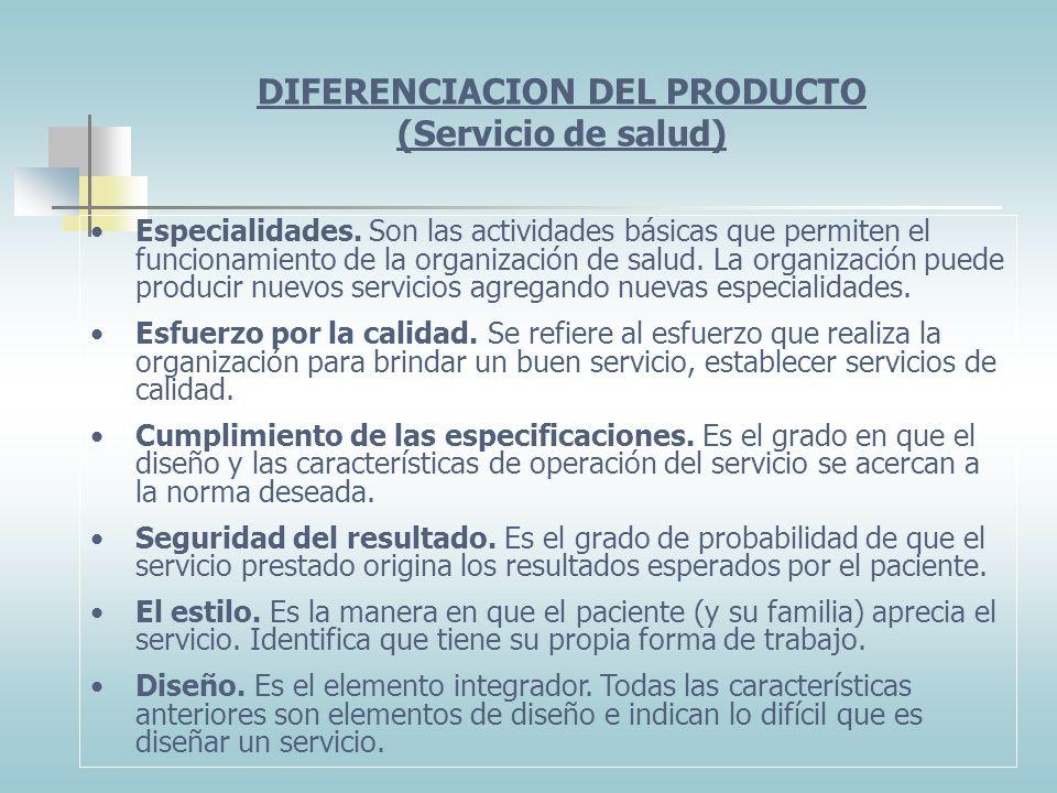 DIFERENCIACION DEL PRODUCTO (Servicio de salud)