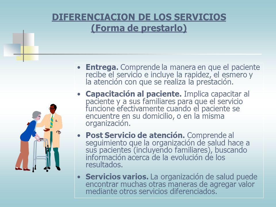 DIFERENCIACION DE LOS SERVICIOS (Forma de prestarlo)