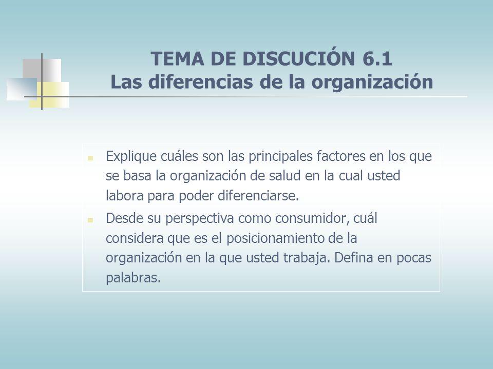 TEMA DE DISCUCIÓN 6.1 Las diferencias de la organización