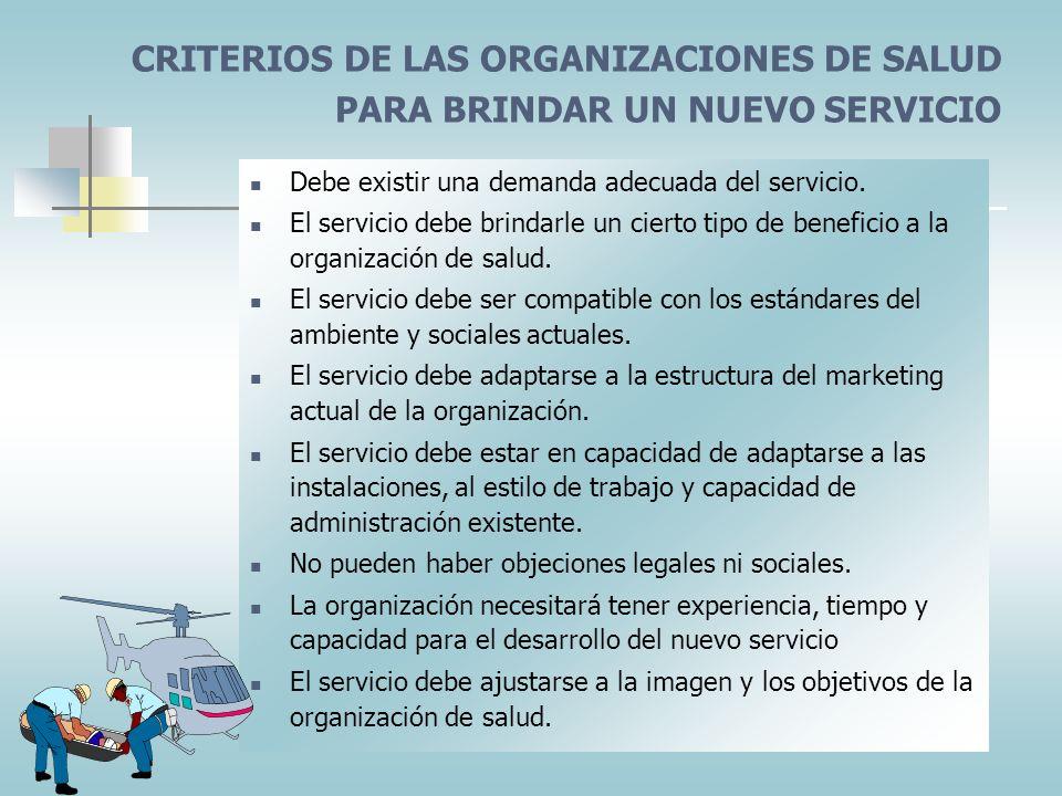 CRITERIOS DE LAS ORGANIZACIONES DE SALUD PARA BRINDAR UN NUEVO SERVICIO