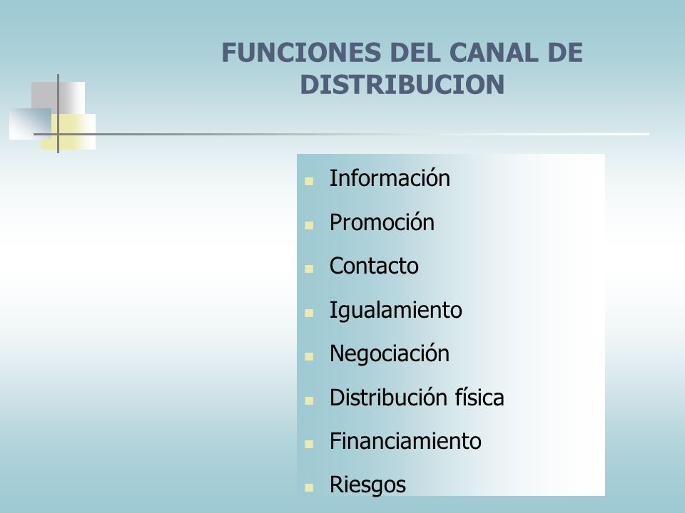 FUNCIONES DEL CANAL DE DISTRIBUCION