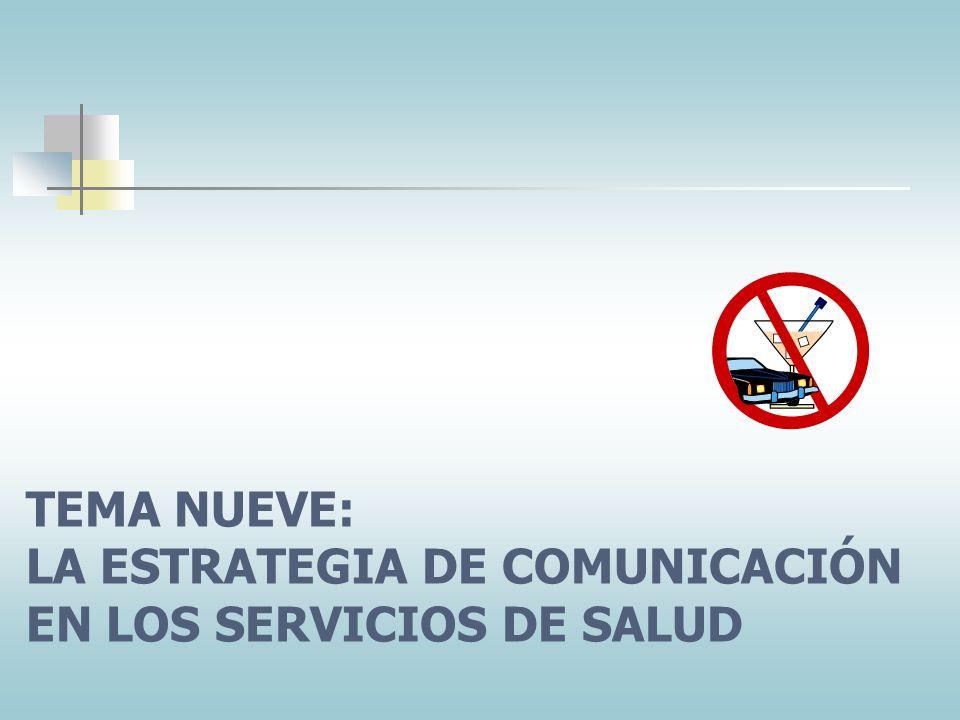 TEMA NUEVE: LA ESTRATEGIA DE COMUNICACIÓN EN LOS SERVICIOS DE SALUD