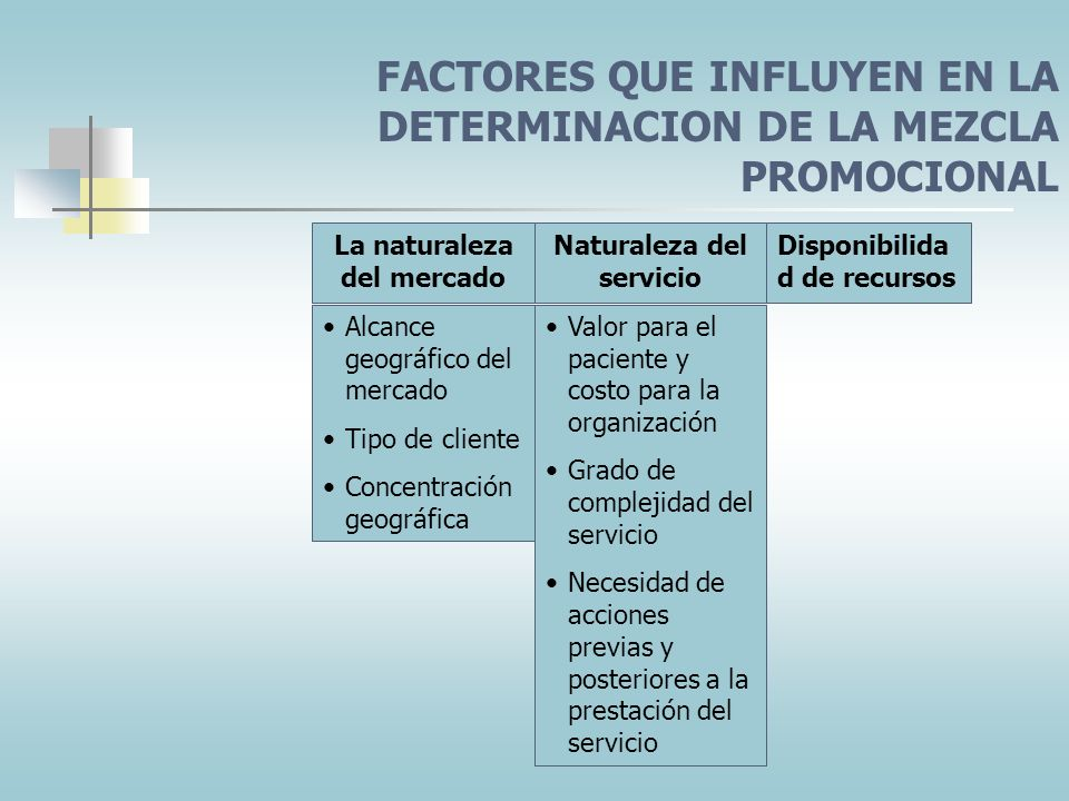 FACTORES QUE INFLUYEN EN LA DETERMINACION DE LA MEZCLA PROMOCIONAL