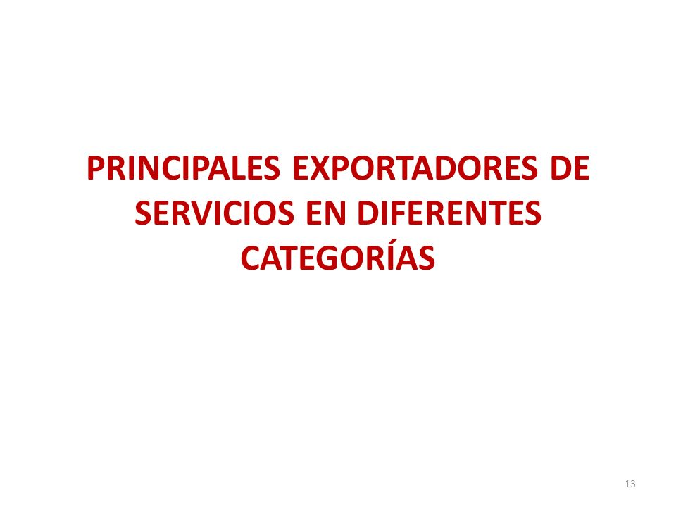 PRINCIPALES EXPORTADORES DE SERVICIOS EN DIFERENTES CATEGORÍAS