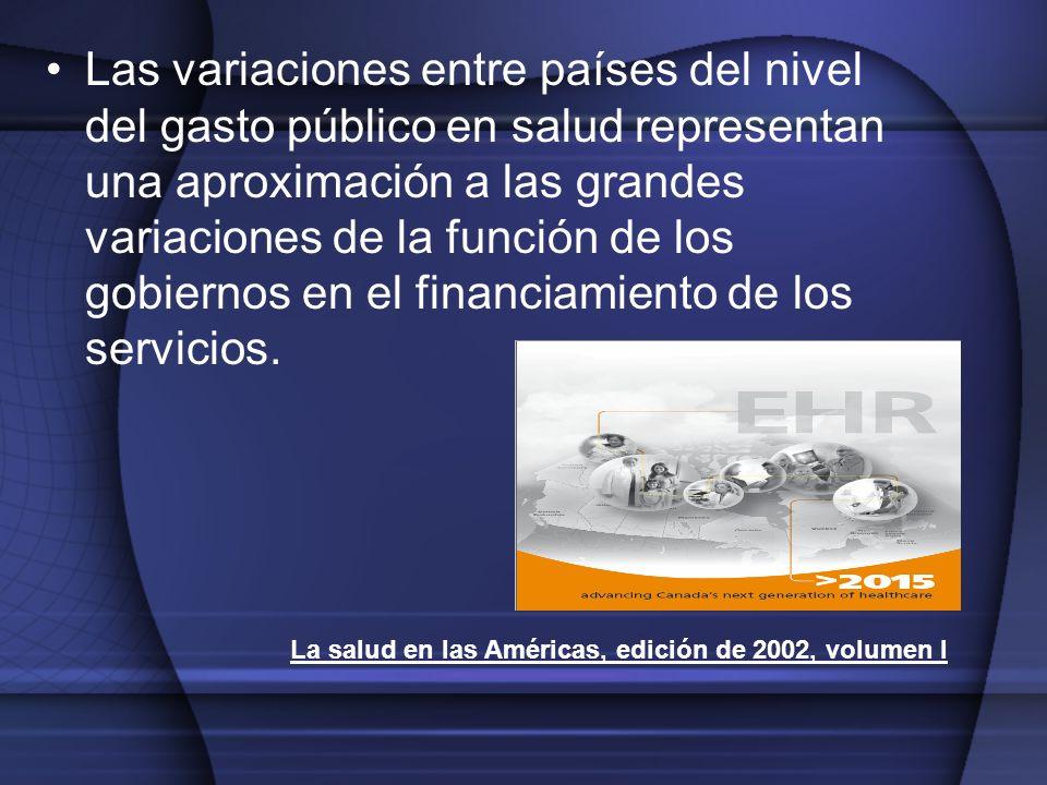 Las variaciones entre países del nivel del gasto público en salud representan una aproximación a las grandes variaciones de la función de los gobiernos en el financiamiento de los servicios.