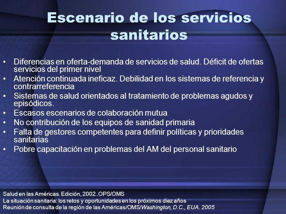 Escenario de los servicios sanitarios
