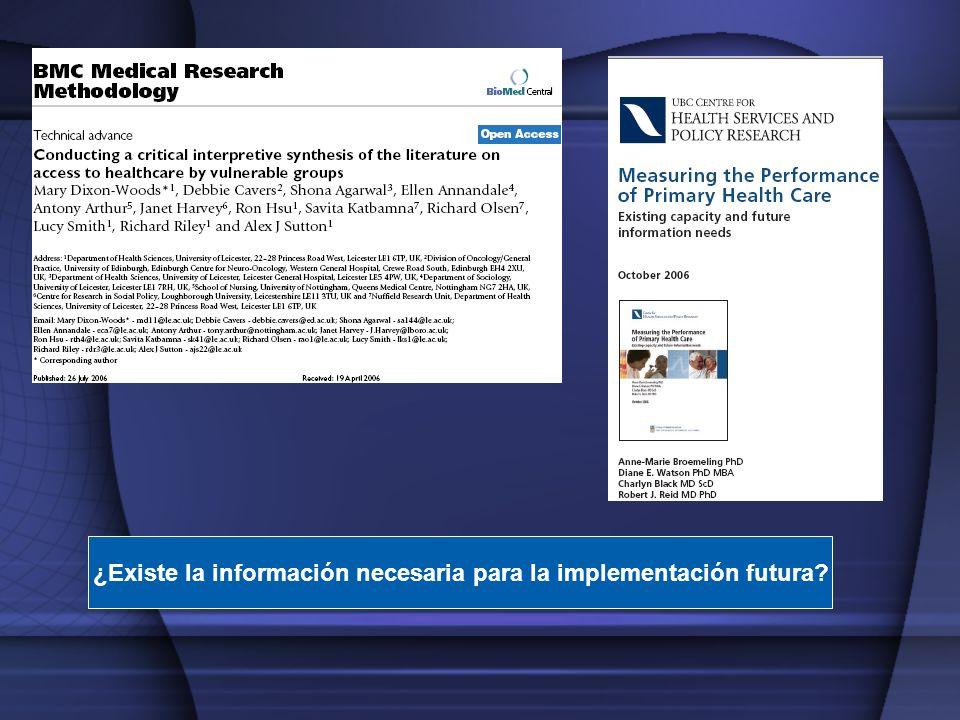 ¿Existe la información necesaria para la implementación futura