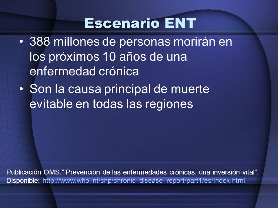 Escenario ENT 388 millones de personas morirán en los próximos 10 años de una enfermedad crónica.