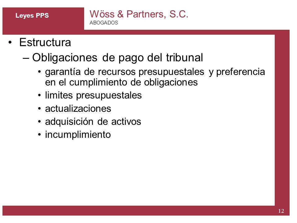 Obligaciones de pago del tribunal