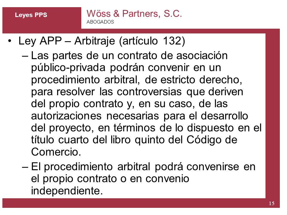 Ley APP – Arbitraje (artículo 132)