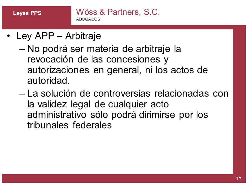 Leyes PPS Ley APP – Arbitraje.