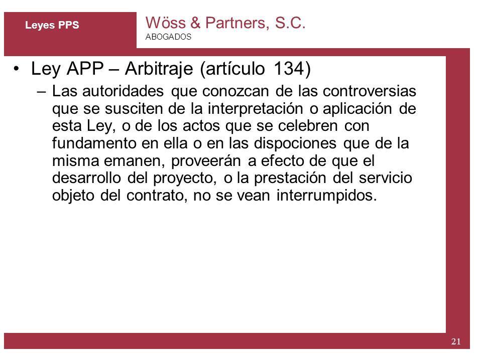 Ley APP – Arbitraje (artículo 134)