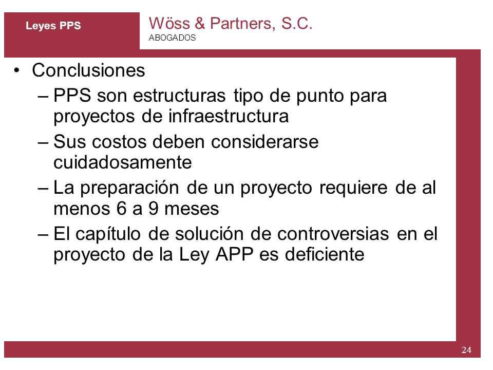 PPS son estructuras tipo de punto para proyectos de infraestructura