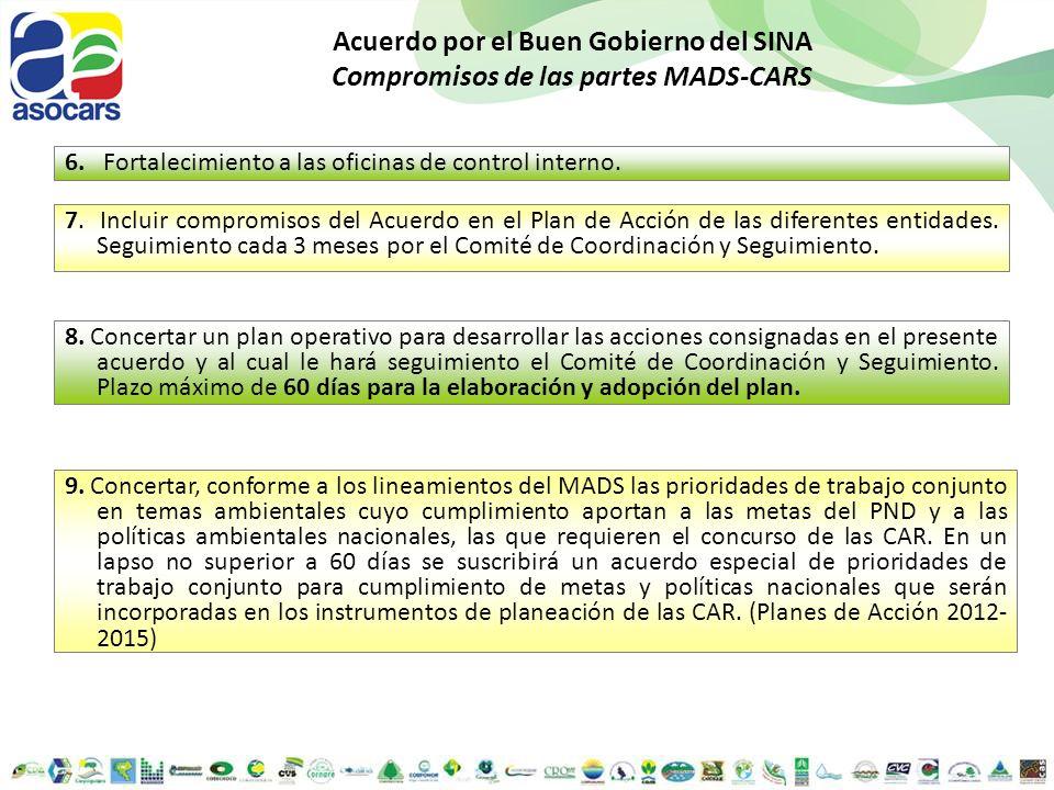 Acuerdo por el Buen Gobierno del SINA Compromisos de las partes MADS-CARS