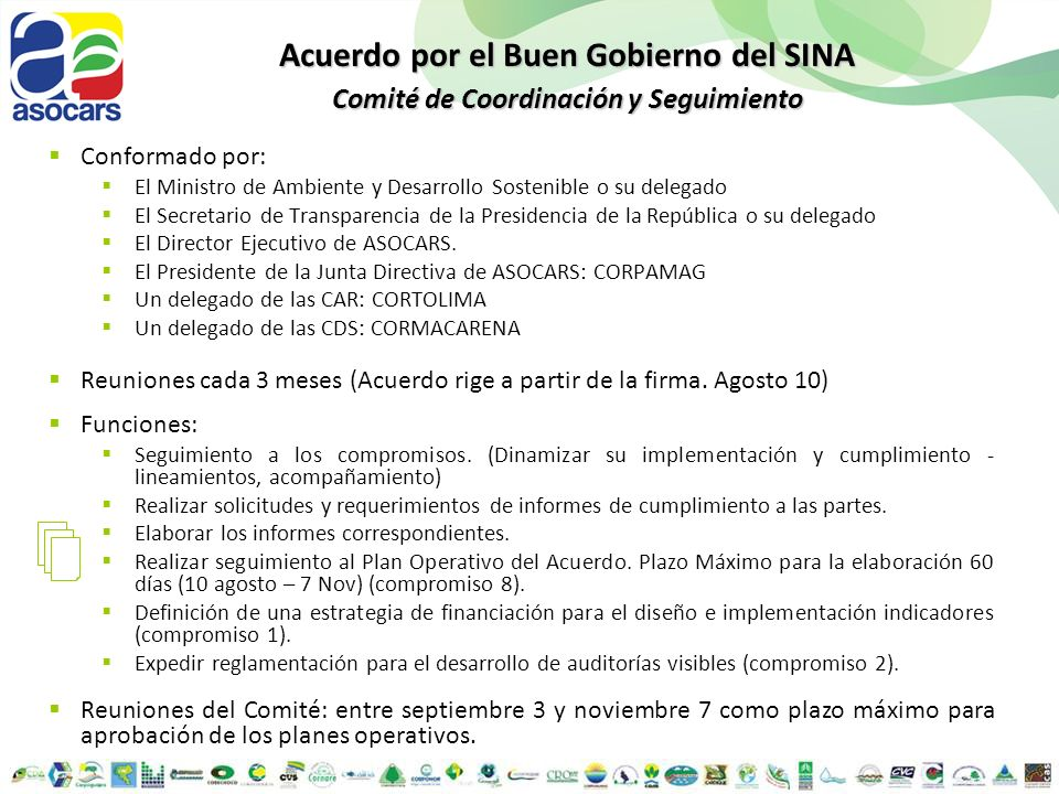 Acuerdo por el Buen Gobierno del SINA Comité de Coordinación y Seguimiento