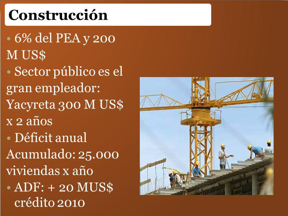 Construcción 6% del PEA y 200 M US$ Sector público es el