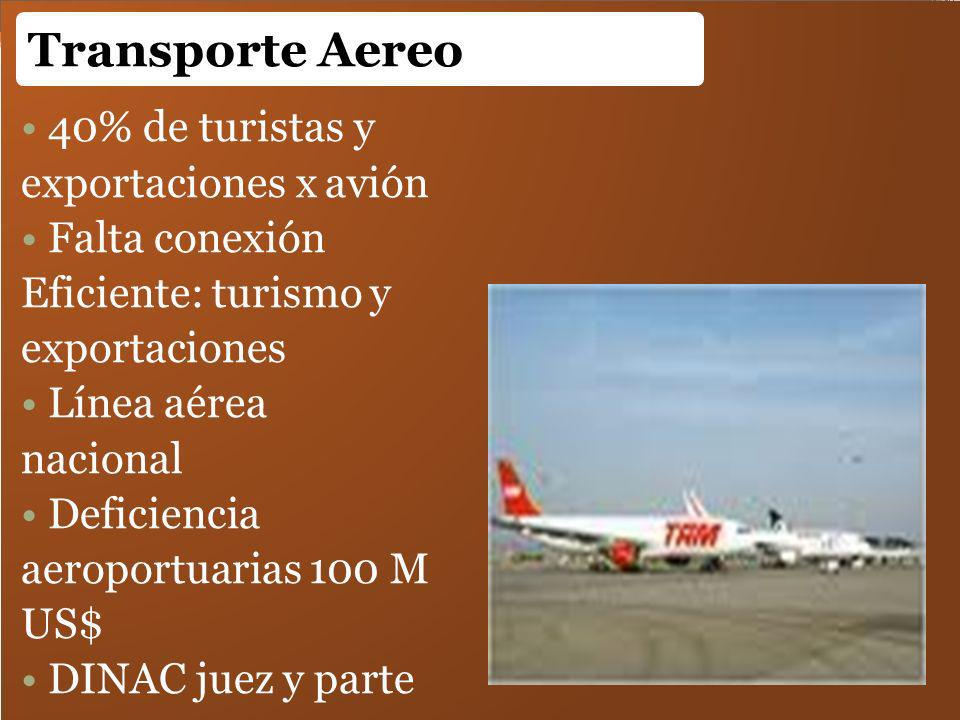Transporte Aereo 40% de turistas y exportaciones x avión