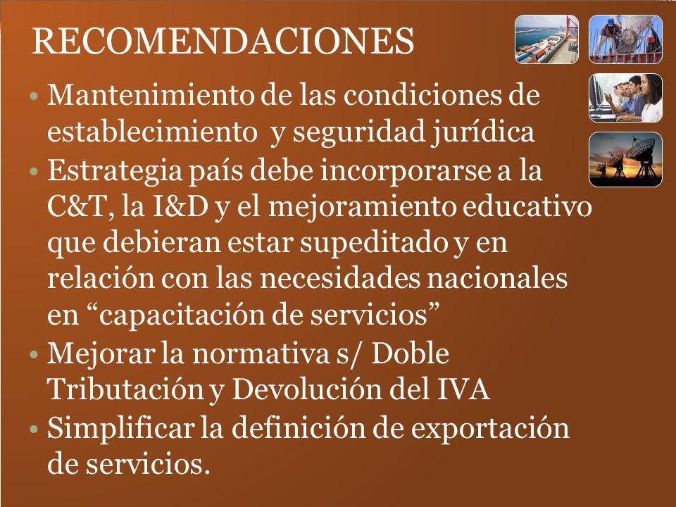 RECOMENDACIONES Mantenimiento de las condiciones de establecimiento y seguridad jurídica.