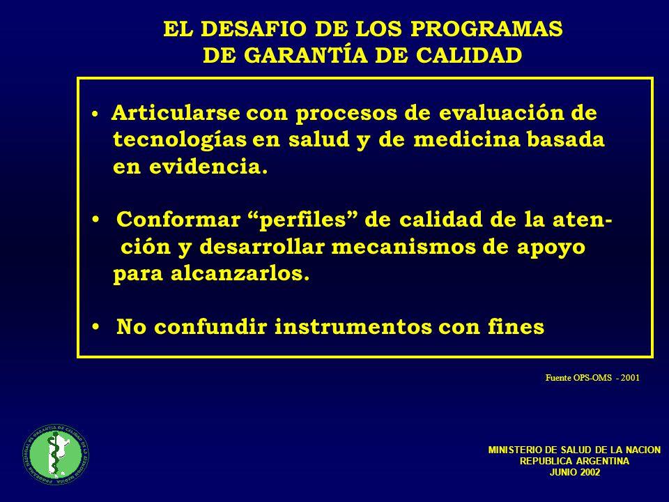 EL DESAFIO DE LOS PROGRAMAS MINISTERIO DE SALUD DE LA NACION