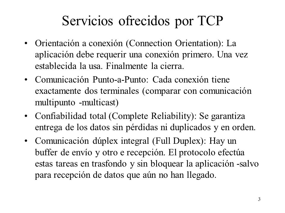 Servicios ofrecidos por TCP