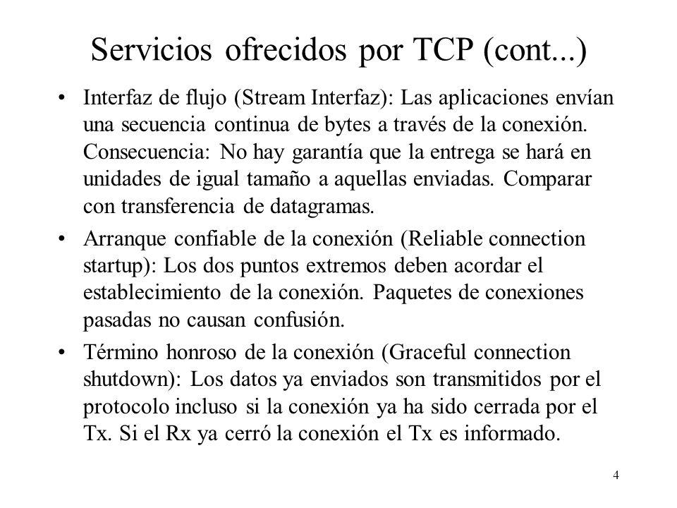 Servicios ofrecidos por TCP (cont...)
