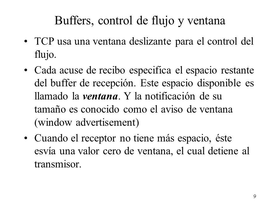 Buffers, control de flujo y ventana