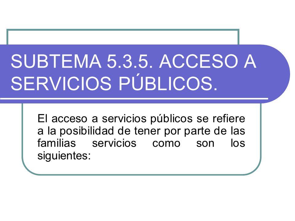 SUBTEMA 5.3.5. ACCESO A SERVICIOS PÚBLICOS.